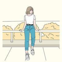 Ein Mädchen sitzt am Geländer. Hand gezeichnete Art Vektor-Design-Illustrationen. vektor
