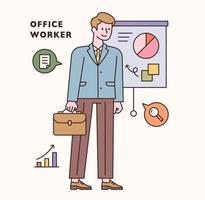 Büroangestellter Zeichen- und Symbolsatz. flache Designart minimale Vektorillustration. vektor