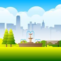 Streaming-Brunnen und arrangierte Bäume Landscape Illustration vektor