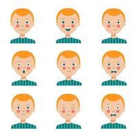uppsättning av olika ansiktsuttryck av söt tecknad rödhårig pojke. vektor