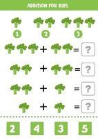 Zusatz für Kinder mit grünem Cartoon-Brokkoli. pädagogisches Mathe-Spiel. vektor