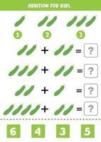 Zugabe mit Gurke. löse die Gleichung. Mathe-Spiel für Kinder. vektor