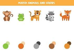 matcha djur och deras färger. pedagogiskt arbetsblad för barn. vektor