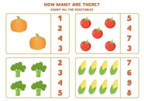 Zählen Sie die Menge an Gemüse und kreisen Sie die richtige Antwort ein. vektor