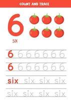 Arbeitsblatt zum Lernen von Zahlen und Buchstaben mit Comic-Tomaten. Nummer sechs. vektor