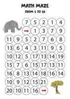 Mathe-Labyrinth mit niedlichem Cartoon-Elefanten und Safari-Baum. vektor