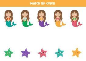 Kombinieren Sie Meerjungfrauen und Seesterne nach Farben. pädagogisches Arbeitsblatt. vektor