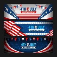 4. Juli Banner Set mit realistischer amerikanischer Flagge vektor