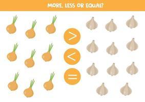 Zahlenvergleich für Kinder. Mathe-Spiel mit Zwiebeln und Knoblauch. vektor