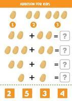 Zugabe mit Kartoffel. löse die Gleichung. Mathe-Spiel für Kinder. vektor