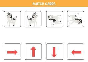 Match Orientierungskarten und Zebras. Kartenspiel für Kinder. vektor