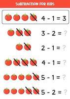 Subtraktion für Kinder mit niedlichen roten Cartoon-Tomate. vektor