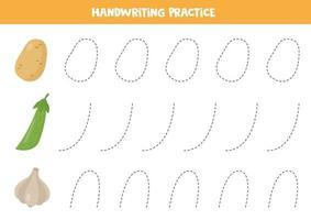 Linien für Kinder verfolgen. süßer Cartoon Knoblauch, Kartoffel und grüne Erbse. vektor