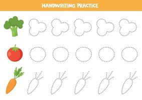Verfolgen Sie die Linien mit Cartoon-Brokkoli, Tomate, Karotte. vektor