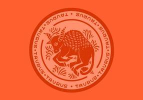 Taurus zodiac bull badge vektor