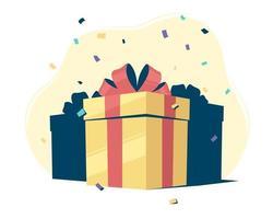 Geschenkboxen mit Konfetti vektor