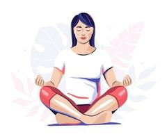 Frau meditiert, Yoga Illustration vektor