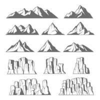 berg och klippor ikoner vektor