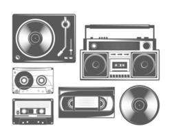 Satz Vintage-Kassette, Vinyl, Rekorder, Player vektor