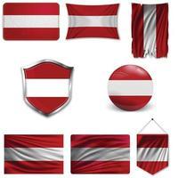 Satz der Nationalflagge von Armenien in verschiedenen Designs auf einem weißen Hintergrund. realistische Vektorillustration. vektor
