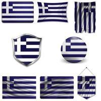 Satz der Nationalflagge von Griechenland in verschiedenen Entwürfen auf einem weißen Hintergrund. realistische Vektorillustration. vektor