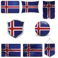 Satz der Nationalflagge von Island in verschiedenen Entwürfen auf einem weißen Hintergrund. realistische Vektorillustration. vektor