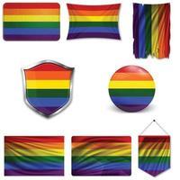uppsättning av HBT-flaggan i olika mönster. vektor