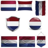 Satz der Nationalflagge der Niederlande in verschiedenen Designs auf weißem Hintergrund. realistische Vektorillustration. vektor