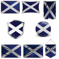 Satz der Nationalflagge von Schottland in verschiedenen Mustern auf einem weißen Hintergrund. realistische Vektorillustration. vektor