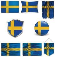 uppsättning av Sveriges nationella flagga i olika mönster på en vit bakgrund. realistisk vektorillustration. vektor