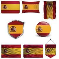 Satz der Nationalflagge von Spanien in verschiedenen Mustern auf einem weißen Hintergrund. realistische Vektorillustration. vektor