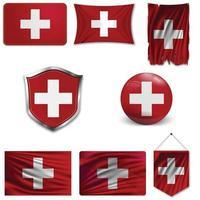 Satz der Nationalflagge der Schweiz in verschiedenen Designs auf weißem Hintergrund. realistische Vektorillustration. vektor