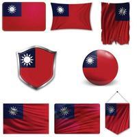 Satz der Nationalflagge von Taiwan in verschiedenen Designs auf weißem Hintergrund. realistische Vektorillustration. vektor