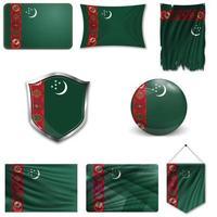 Satz der Nationalflagge von Turkmenistan in verschiedenen Designs auf weißem Hintergrund. realistische Vektorillustration. vektor