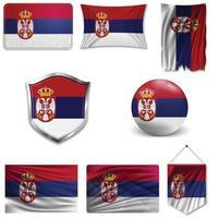 Satz der Nationalflagge von Serbien in verschiedenen Designs auf weißem Hintergrund. realistische Vektorillustration. vektor