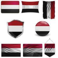 Satz der Nationalflagge des Jemen in verschiedenen Designs auf weißem Hintergrund. realistische Vektorillustration. vektor