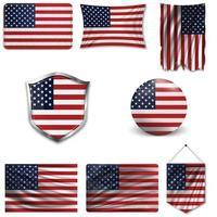 Satz der Nationalflagge der USA in verschiedenen Designs auf weißem Hintergrund. realistische Vektorillustration. vektor