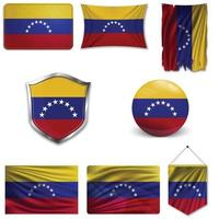 Satz der Nationalflagge von Venezuela in verschiedenen Designs auf weißem Hintergrund. realistische Vektorillustration. vektor