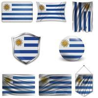 Satz der Nationalflagge von Uruguay in verschiedenen Designs auf weißem Hintergrund. realistische Vektorillustration. vektor