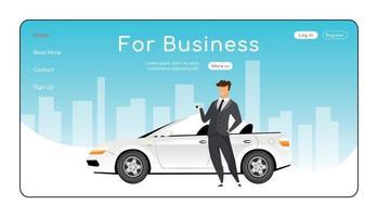 für Business Landing Page flache Farbe Vektor Vorlage. Homepage-Layout der Autovermietung. Unternehmenstransport eine Seite Website-Schnittstelle mit Zeichentrickfigur. Auto-Leasing-Web-Banner, Webseite