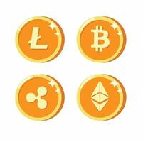 flache Symbolvektorillustration der digitalen Währungssammlung vektor