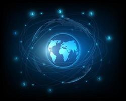 global penningöverföring via ett nätverk av valutaväxling och pengarikoner. vektor