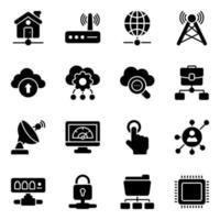 nätverk och teknik ikonuppsättning vektor