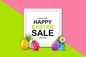glückliche Osterverkaufsplakatschablone mit realistischen Ostereiern 3d. Vorlage für Werbung, Plakat, Flyer, Grußkarte. Vektorillustration eps10 vektor