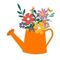 Wasser kann mit einem Blumenstrauß. Frühlings- und Sommerikone. eps10 vektor