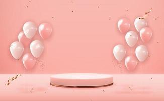 rosa guld piedestal över rosa pastellfärgad naturlig bakgrund med festballonger. trendig tom podiumdisplay för kosmetisk produktpresentation, modetidning. kopia utrymme vektorillustration eps10 vektor