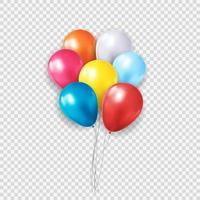 Gruppe von glänzenden Heliumballons der Farbe lokalisiert auf transparentem Hintergrund. Vektorillustration vektor