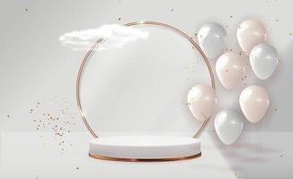 realistischer 3d Sockel über pastell natürlichem Hintergrund mit Partyballons. trendiges leeres Podium für kosmetische Produktpräsentation, Modemagazin. Kopie Raum Vektor-Illustration epd vektor