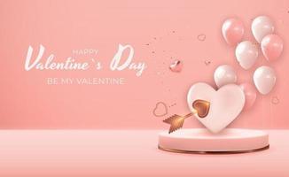 realistischer 3d Valentinstagsfeiertagsgeschenkkarten-Hintergrundentwurf. Vorlage für Werbung, Web, Social Media und Modewerbung. Plakat, Flyer, Grußkarte, Kopfzeile für Website-Vektorillustration eps10 vektor
