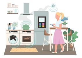 flacher Farbvektor der modernen Hausfrau, gesichtsloser Charakter. automatisierte Fernbedienung für Haushaltsgeräte. Frau in der intelligenten Küche isolierte Karikaturillustration für Webgrafikdesign und -animation vektor